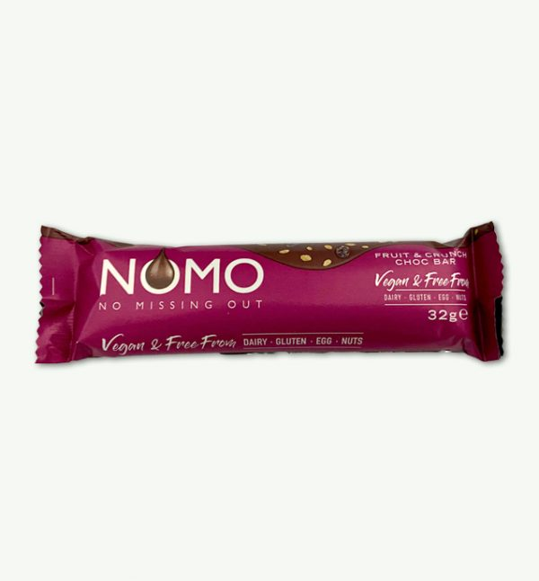 NOMO Fruit and Crunch Vegan Chocolate Bar Dairy Free, gluten free