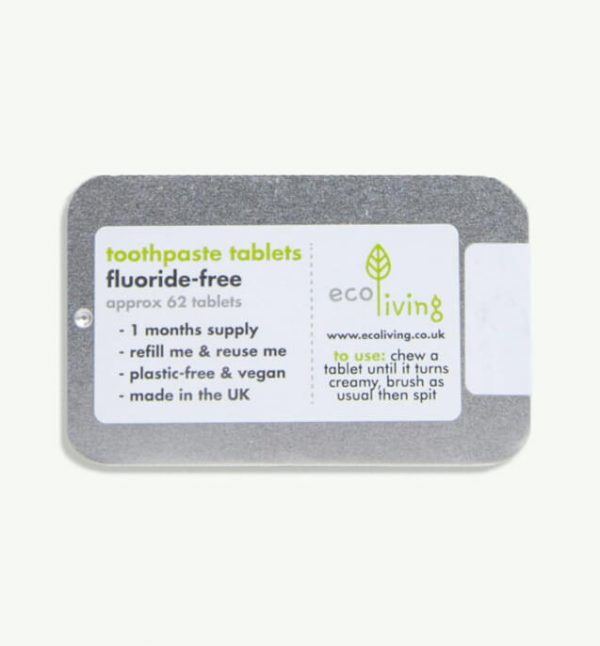 Refillable Tin of Toothpaste Tablets with Fluoride (1-month supply)