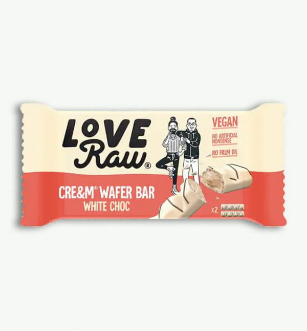 Love Raw Cre&m Filled White Choc Wafer Bars